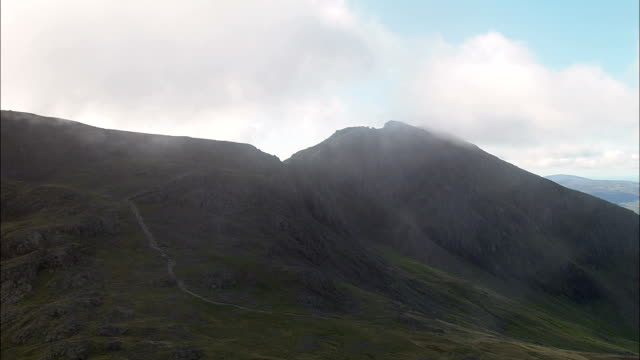Slight Side And Cam Spout Crag  - Aerial View - England, Cumbria, Copeland District, United Kingdom Landscape around Scafell Pike computer aided manufacturing stock videos & royalty-free footage