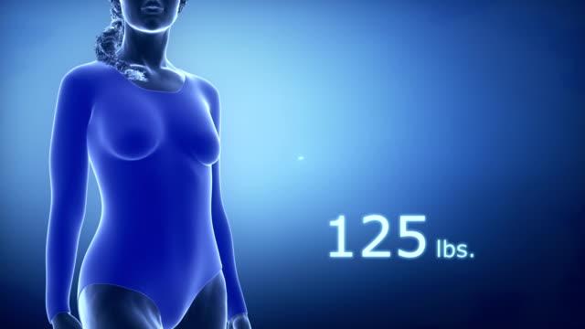 スリムな女性に肥満、図の ポンド . - 体への関心点の映像素材/bロール