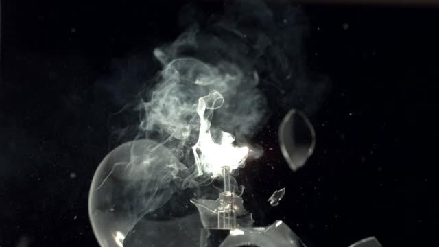 Slingshot through a light bulb, slow motion video