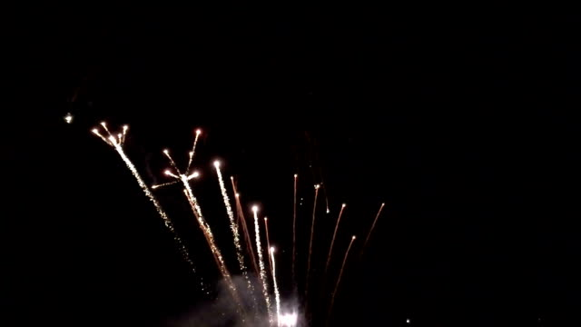 Slo-mo Fireworks 120 fps footage of fireworks at a stadium in Hillsboro, Oregon. firework explosive material stock videos & royalty-free footage