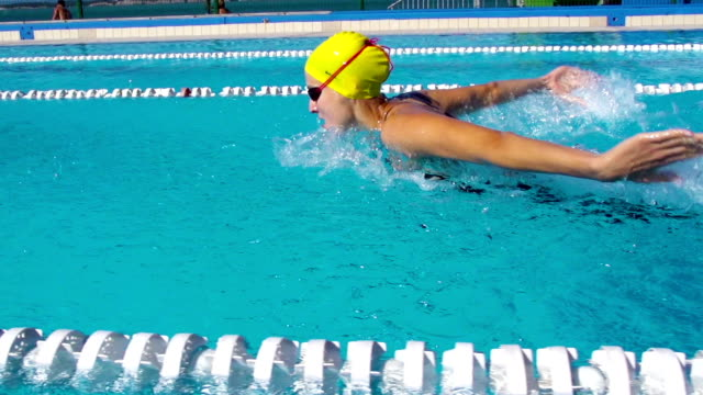 HD Slo-Mo:Motion Effect Shot of Young Women Swimming Butterfly Stroke video