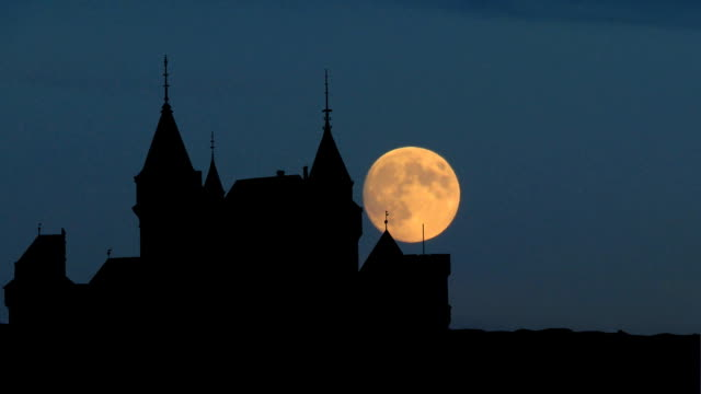 Slovakia Bojnice Castle moonrise video