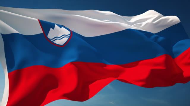 4 k スロベニアフラグ-ループ - スロベニア点の映像素材/bロール