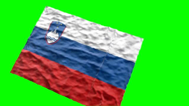 vidéos et rushes de drapeau du stade slovène. agitant sur écran vert - ligue sportive