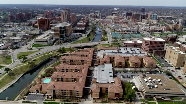 Slow Aerial Pan across south side of Country Club Plaza in Kansas City, Missouri