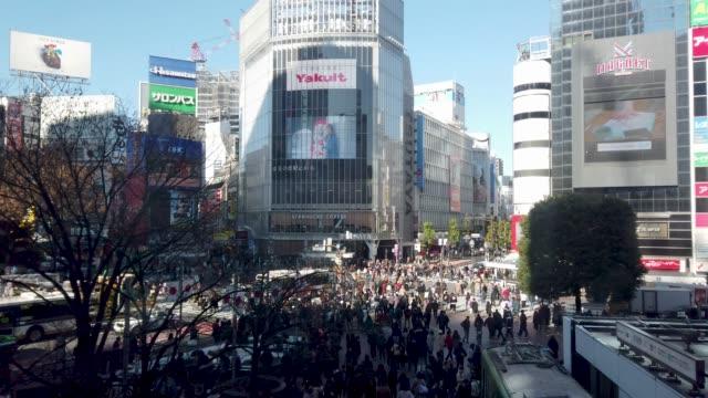 4k långsam flygvy över shibuya crossing i tokyo, japan - billboard train station bildbanksvideor och videomaterial från bakom kulisserna
