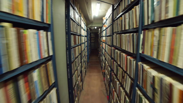 slow camera movement between two archive shelves filled with folders - dolly shot video stock e b–roll