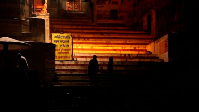 Slow camera pan along the Ghats: Varanasi, India video