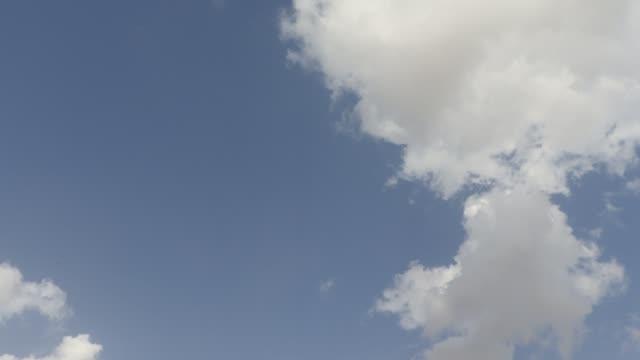 Slow clouds move blue sky ,