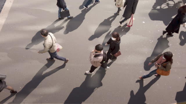 slow , directly above , high angle view . commuter crowd walking - pedone ruolo dell'uomo video stock e b–roll