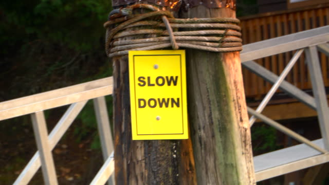 Slow Down Yellow Boat Traffic Sign, Safety Danger Warning video