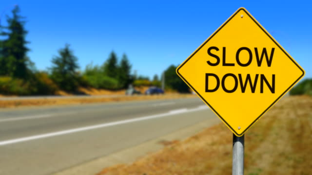 Slow Down, Yellow Diamond Sign, Seamless Looping video