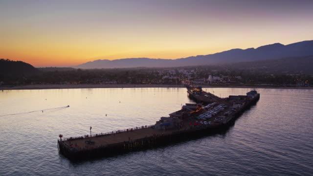 Slow Drone Flight Towards Stearns Wharf, Santa Barbara at Twilight video