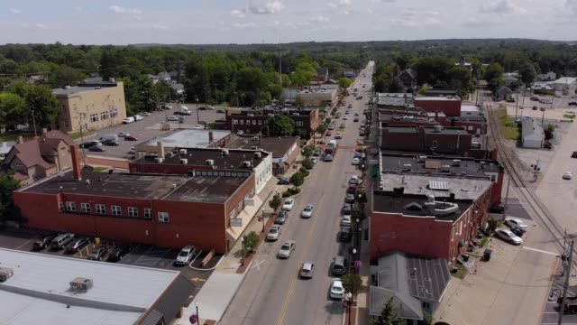 Slow Forward Aerial Establishing Shot of Bedford Business District video