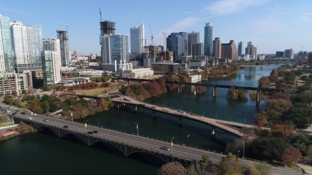 Slow Forward Aerial View of Austin Skyline and Pfluger Pedestrian Bridge video
