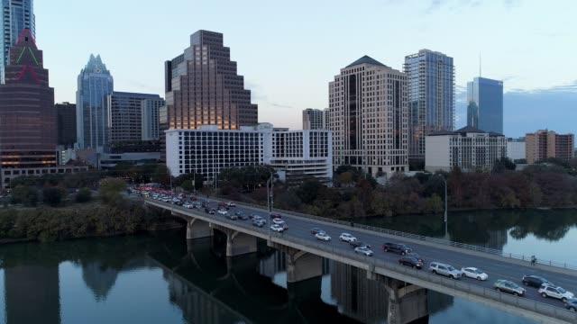 Slow Forward Establishing Shot of Traffic on Congress Avenue Bridge in Austin video