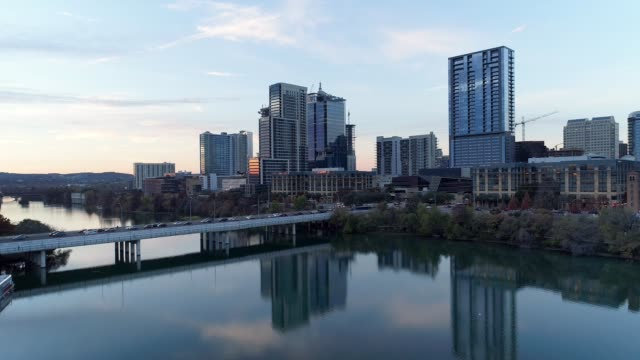 Slow Forward Rising Aerial Establishing Shot of Austin Skyline video