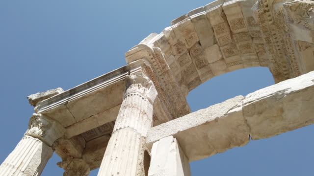 Slow mo of Tetrapylon of Aphrodisias Antique city near Artemis temple