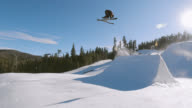 istock Slow Motion, Aerial Drone Shot of a Skier in Full Winter Gear Completing a Trick on a Jump with a Forest and a Ski Lift in the Background at Eldora Ski Resort near Boulder, Colorado on a Bright, Sunny Day 1221242812