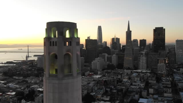 Slow Motion Aerial Video - Coit Tower in San Francisco