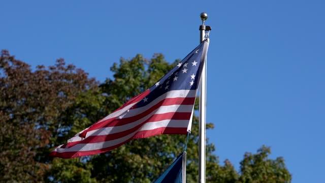 slow motion - amerikanska inbördeskriget flag flyger i vind till vänster - fornhistorisk tid bildbanksvideor och videomaterial från bakom kulisserna