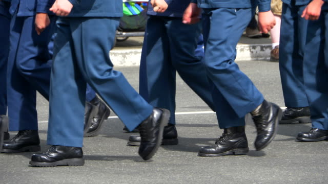 Slow Motion Army Soldiers Marching Boots, Military Parade Formation March video