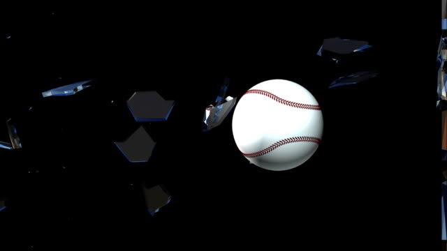 Slow motion baseball glass break 3d animation (HD) video