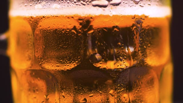vídeos de stock e filmes b-roll de slow motion beer bubbles in a glass close up - bebida fresca