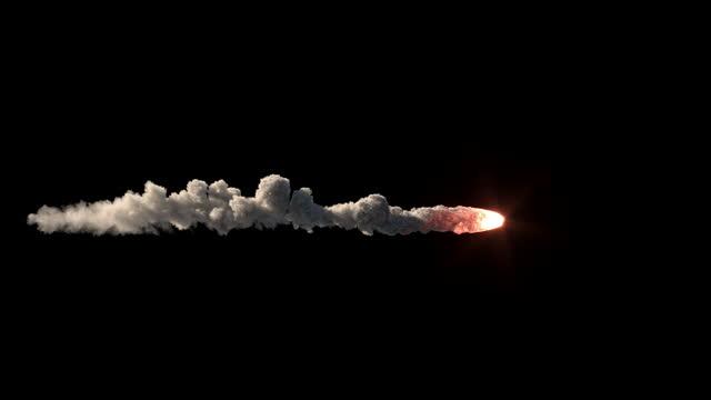 Slow motion big meteor on black