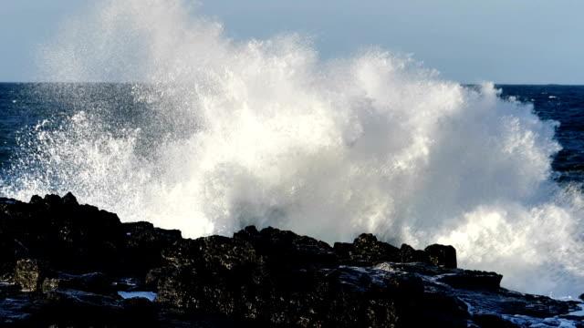 slow motion big waves crashing on coastaline rocks snaefellsness iceland - white background стоковые видео и кадры b-roll