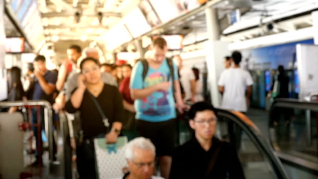 HD Slow Motion: Blurred people on a train station platform video