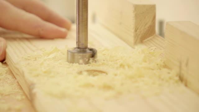 Slow motion: carpenter drill column video