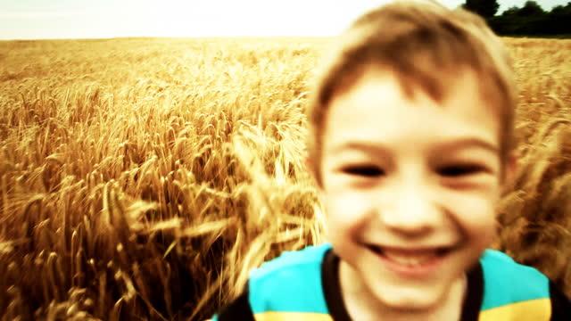 slow motion: bambini in esecuzione nel campo di grano - solo bambini maschi video stock e b–roll