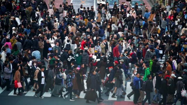 hd zeitlupe stadtbild und stadtleben von asiatischen überfüllten fußgängern mann und frau mit touristen zu fuß überqueren shibuya straße kreuzung kreuzung überquerenmit mit ampel bei shibuya, tokyo city, japan - überweg warnschild stock-videos und b-roll-filmmaterial