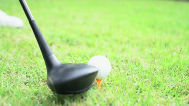 Slow Motion: Close Up Of A Tee Shot video