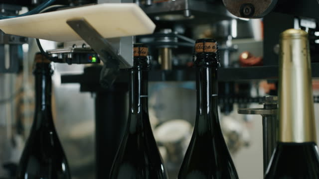 Slow motion close up of champagne wine producing and bottling process using automated conveyors equipment. video