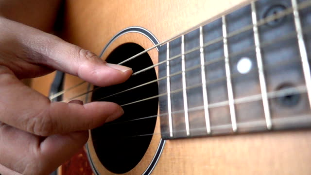 HD Slow Motion: Close Up Video Of Guitarists Hands video