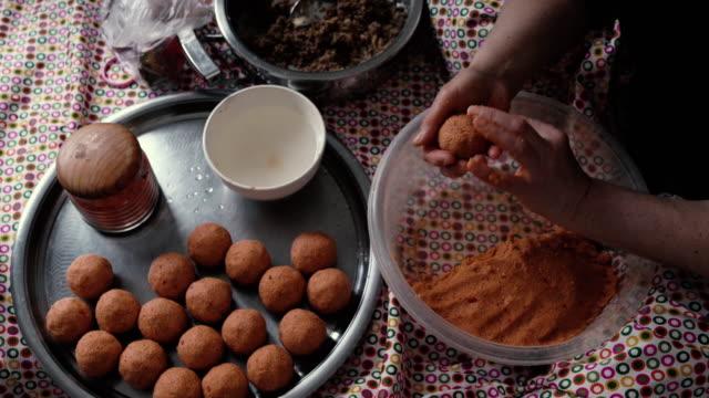 UHD Slow Motion Close Up Video Of Senior Woman Hand Preparing Stuffed Meatballs video