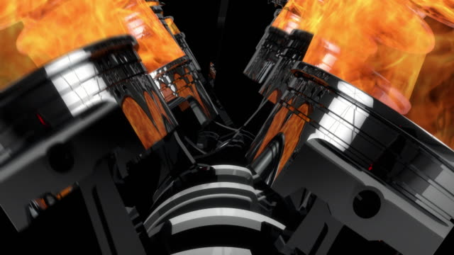 Slow Motion Close Up Working V8 Engine Animation With Explosions - Loop