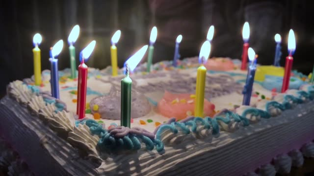 Slow Motion Closeup View Blowing Out Birthday Candles video