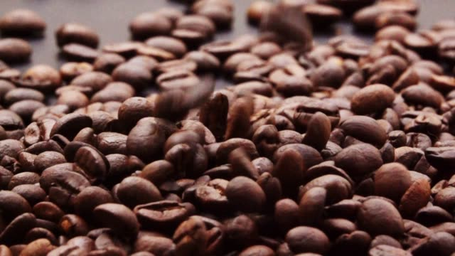 slow motion kaffeebohne fallen. - rohe kaffeebohne stock-videos und b-roll-filmmaterial
