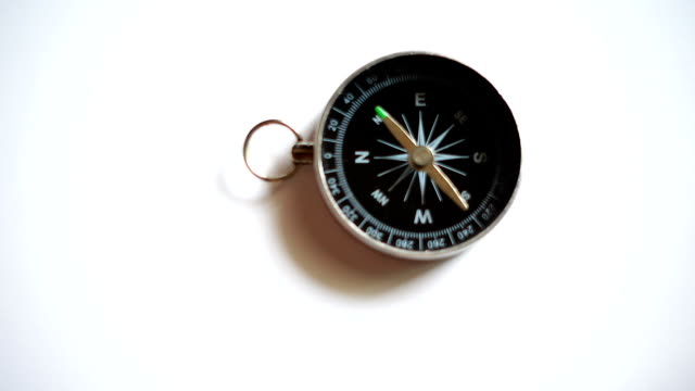 Slow motion compass on white background