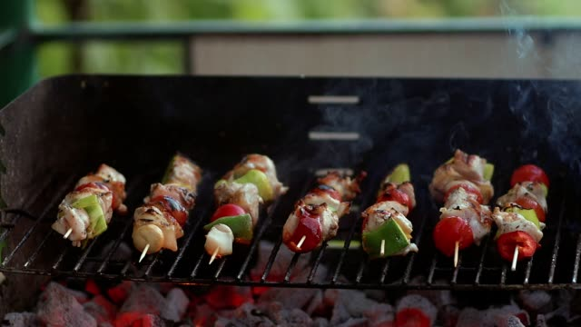 slow motion cooking fresh vegetables and marinated meat on bamboo sticks on barbecue grill with fire and smoking closeup - spiedino video stock e b–roll