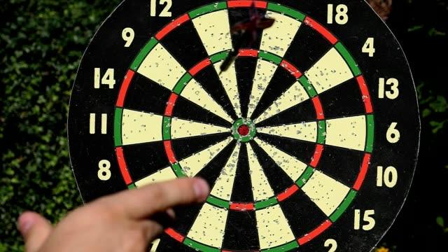 Slow Motion Dart Hitting The Bulls Eye Hanging Board