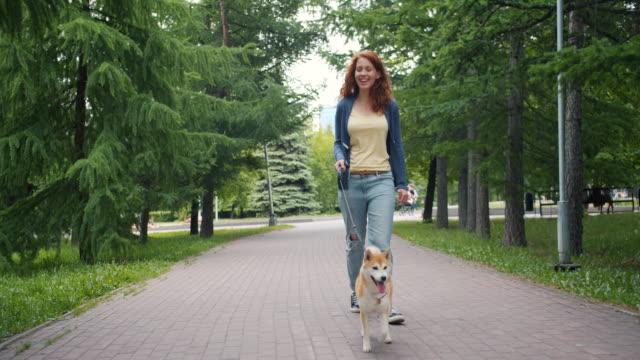stockvideo's en b-roll-footage met slow motion dolly shot van mooi meisje wandelen goed gefokte puppy in green park - teenager animal