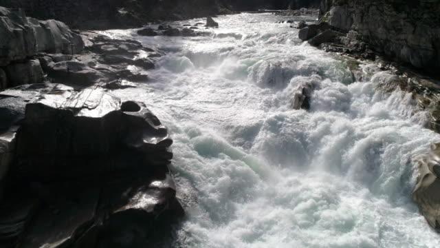 Slow Motion Drone Flying Up River Rapids for Crisp Detail Nature Shot video