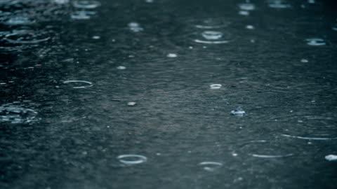 vidéos et rushes de 4k slow motion instituant le coup de la pluie qui tombe sur la chaussée. - pluie