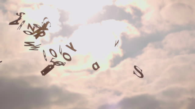 Slow motion: Falling random letters video