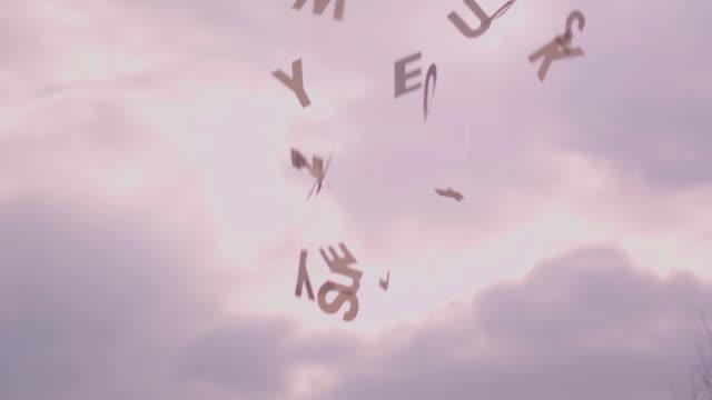 Slow motion: Falling random letters video