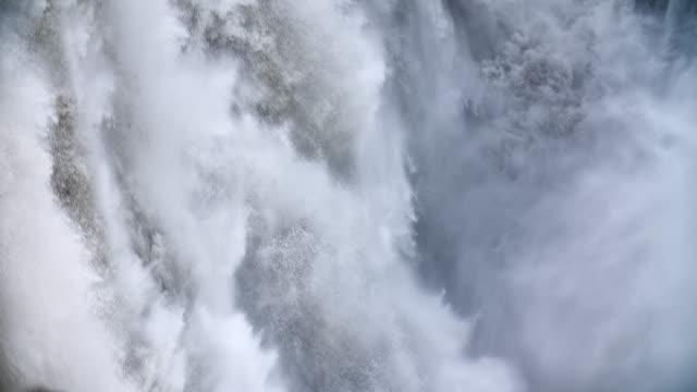 Slow Motion: Falling water at Dettifoss Waterfall video
